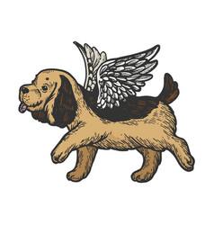 Angel flying puppy color sketch engraving vector