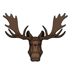 angry elk moose animal mascot with horns vector image
