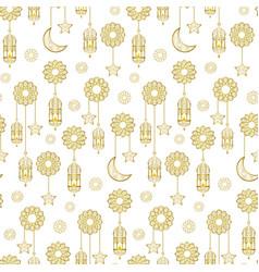 arabic golden lantern seamless pattern vector image