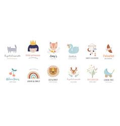 Baby logos icons children room nursery vector
