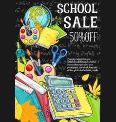back to school chalkboard sale sketch vector image