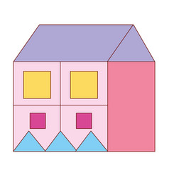 big house with square windows and roof design vector image