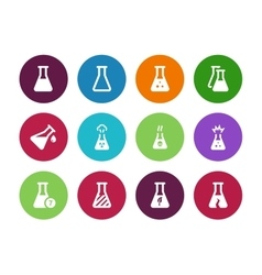 Biology tube circle icons on white background vector image