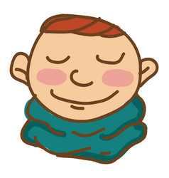Blushing boy in neck scarf or color vector