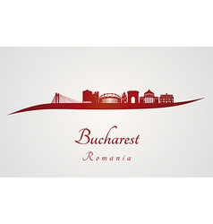 Bucharest skyline in red vector