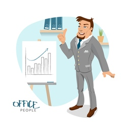 Business man with presentation in his office vector