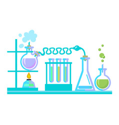 chemical science lab equipment test tubes flasks vector image