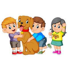 child lovingly embraces his pet dog vector image