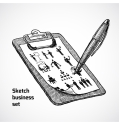 Clipboard With Business Sketch vector