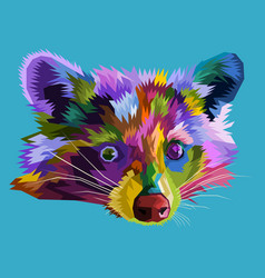 colorful racoon on pop art vector image