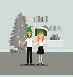 Couple in formal clothes celebrating christmas vector