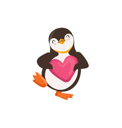 Cute penguin toon is holding a pink heart vector