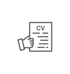 Cv hand outline icon elements business line vector