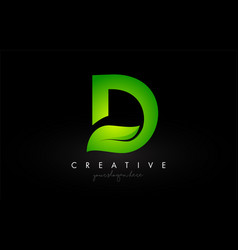 D leaf letter logo icon design in green colors vector