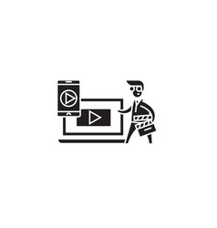 digital video production black concept icon vector image