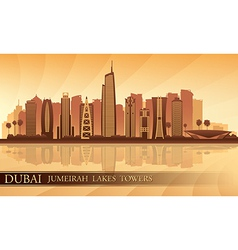 Dubai Jumeirah Lakes Towers skyline silhouette vector