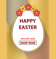 easter egg poster with flowers vector image