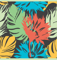exotic summer flowers and leaves seamless pattern vector image