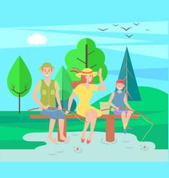Family outdoor recreational activities happy vector