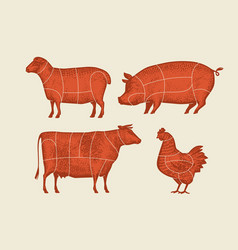 farm animals with meat cuts lines retro vector image