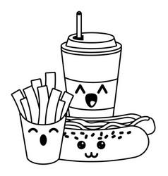 fast food kawaii cartoon in black and white vector image