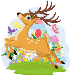 funny dear jumping with flowers in background vector image