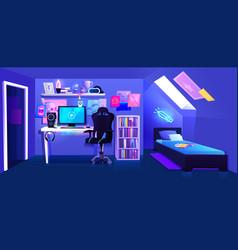 Gamer boy room on attic interior banner vector