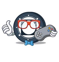 Gamer byteball bytes coin mascot cartoon vector