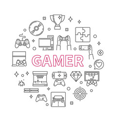Gamer round concept outline minimal vector