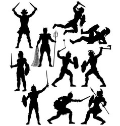 Gladiator silhouettes vector