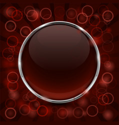 Glass brown shiny 3d button with metal frame vector