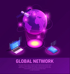global network isometric glowing composition vector image