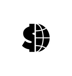 globe with dollar flat icon vector image