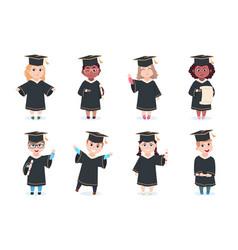 Graduate kids kindergarten preschool graduating vector