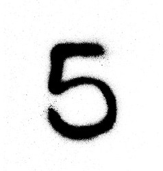 Graffiti sprayed number 5 five in black on white vector