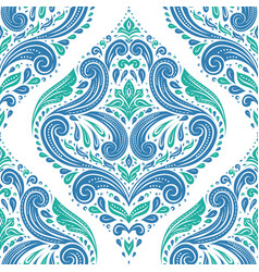 Green and blue damask pattern vector