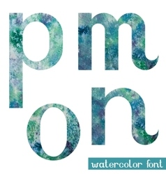 Green-blue watercolor font MNOP vector image