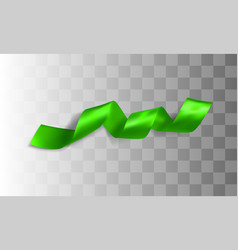 Green realistic silk ribbon vector