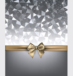 Grey holiday background with gold bow vector