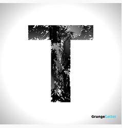 grunge letter t black font sketch style symbol vector image