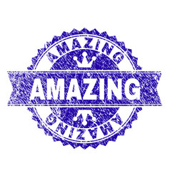 Grunge textured amazing stamp seal with ribbon vector