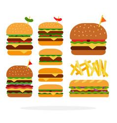 Hamburger cheeseburger sandwich double burger vector