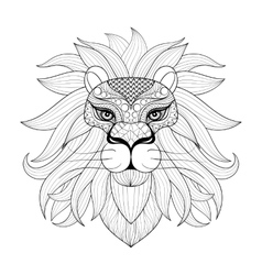 hand drawn entangle ornamental lion for adult vector image