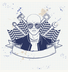 Hand drawn sketch racer man vector