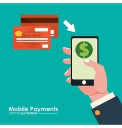 Hand holds smartphone credit card mobile payments vector