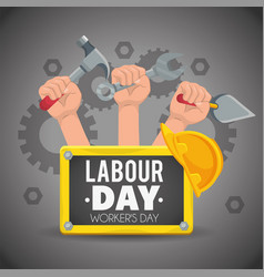 Hands with construction tools to labour day vector