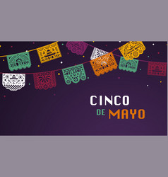 happy cinco de mayo greeting banner with papel vector image