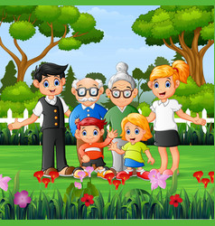 Happy family members are vacation in park vector