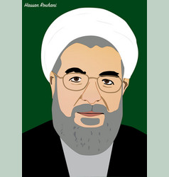 Hassan rouhani president of iran vector