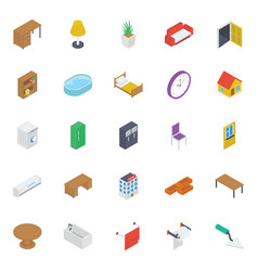 Home interior isometric icons pack vector